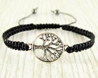 Tree of life bracelet cord bracelet tree bracelet knotted bracelet black bracelet friendship bracelet string bracelet hippie bracelet nature