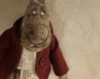 Bunny Rabbit, Needle Felted Animal, Needle Felted Rabbit, Ooak Art a Doll, Fiber art, Easter Rabbit, Easter Bunny