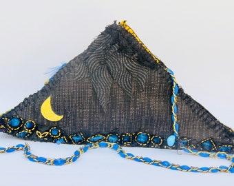 Triangle Crossbody Purse lace Chain Evil Eye burlap glitter Black Unusual Sparkle Wool Felt Hand Sewn
