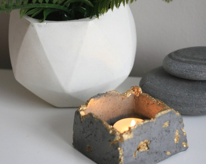 Wabi Sabi Concrete Candleholders | Concrete Planter | Distressed Homeware | Dark Grey & Gold | Urban | Industrial | Rustic