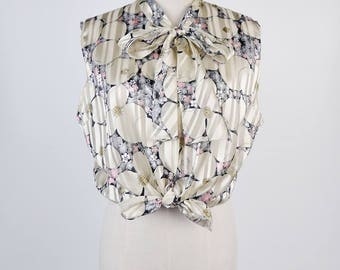 Graphic Flower Print Ascot Collar Sleeveless Beige Vintage Blouse Size M