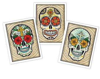 Set of three Blank Sugar Skull Note Cards