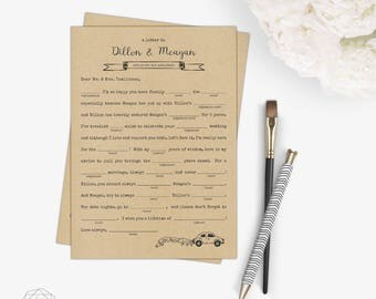 Printable Wedding Mad Libs / Alternative Guest Book / Wedding Game / Reception Game / Printable Mad Libs / Funny Wedding Mad Libs / DIY Game