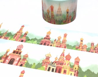 Russia Red Square europe palace washi tape 5Mx 3cm fairy tale palace european vintage building Russia landmarks scenes sticker wide tape