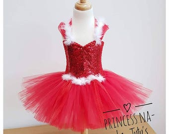 Red Dress - Christmas Tutu Dress - XMas Dress - Red Sparkly Outfit - Holiday Dress - Party Tutu - Santa Little Helper - White Fur - Red Lace