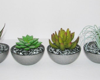 Faux Succulents in Silver Sparkle Bowl, Succulent Planter, Desk Accessory, Artificial Succulent Arrangement, Succulent Gift