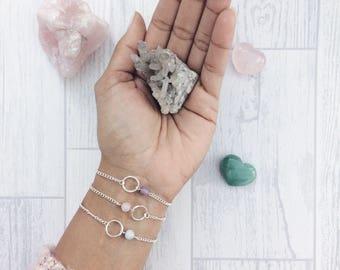 Simple bracelet, aquamarine bracelet, chakra jewellery, delicate silver bracelet, March birthstone, gift for yoga lover, valentines gift