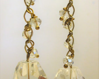 Faceted clear glass drop earrings