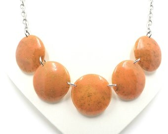 Peach Polymer Clay Necklace, Everyday Necklace, Unique Gift, Ready to Ship, Statement Jewelry