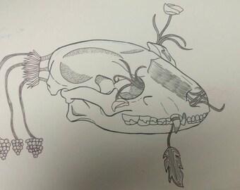 Raccoon skull design | 9x12inches original concept