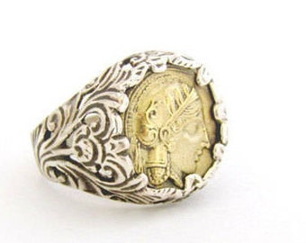 Bronze coin ring - Sterling silver ring - Silver bronze ring - Statement ring - Men's ring - Women's ring - Coin ring