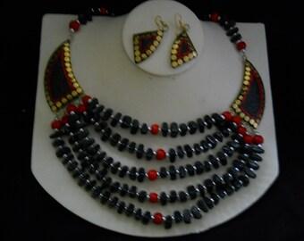 Onyx Carnelian Beaded Bib Necklace Earring Set #370