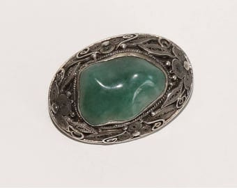 Vintage Chinese Export Silver Filigree Green Aventurine Brooch Art Deco Style ca 1920s