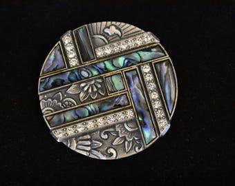 Vintage Geometric Duri Art Deco Revival Circle Circular Floral Rhinestone Statement Brooch Coat Sweater Pin Abalone Shell Silver Tone