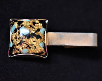 """Vintage Geometric Tie Bar Clip Clasp Gold Flake Resin Men's Gift Mid Century Jewelry Accessories 2"""""""