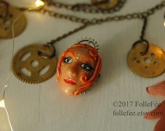 Steampunk brooch Polymer clay brooch Brooch with face Steamgirl