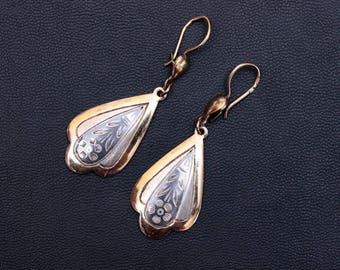 Sterling silver Northern niello large dangle drop earrings