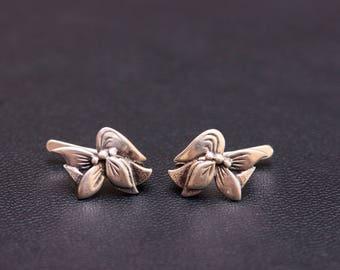 Sterling silver tropical flower earrings