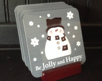 Snowman Coaster, Snowman Coaster Set, Be Jolly and Happy, Snowman Bar Coasters, Snowman Table Coaster, Snowman Drink Coaster, Pat Isaac