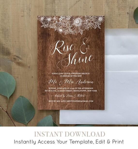 Wedding Brunch Invitation Template, Printable Rise and Shine Brunch Invite, Rustic Wood, Instant Download, 100% Editable, Digital #025-104BR