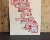Chicago Neighborhood Flag or Map Wood Sign -  5x7 or 8x10 - handpainted, ink transfer, vintage, weathered, panel, block, communities, pride