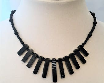 Black Jasper and Natural Stone Necklace
