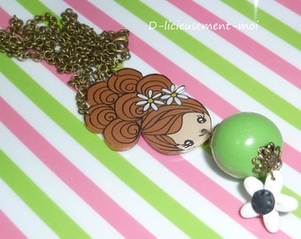 Vintage necklace Choker kawaii chibi girl bronze chain made of plastic crazy crazy Pearl wood polymer clay flower