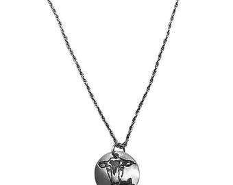 Cow Silver Pendant Necklace-Farm Animal Jewelry Pet Jewelry  Pet Animal Lover Gift