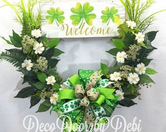Welcome Irish wreath, Welcome shamrock floral wreath, Irish floral wreath, Shamrock welcome wreath, Front door wreath, Irish decor