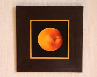 Apricot original oil painting, still life painting, original art, framed painting