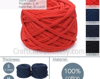Red t-shirt yarn Fabric yarn Cotton yarn Spaghetti yarn Bulky Craft material Jewellery yarn Macrame cord / 670PA / 5 m (5.5 yrds)