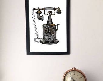 Framed Vintage Style Telephone Painting/Drawing, Unusual Artwork Print,  A4/A3, Unique Unusual Gift, Steampunk