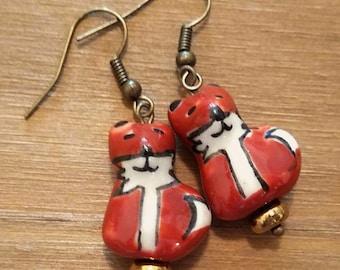 Fox earrings,Red Fox jewelry,Woodland Earrings,animal earrings,Friend gift,wildlife earrings,Woodland,stocking stuffer,Christmas gift,theme