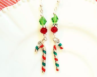 Green Silver and Red Christmas Peppermint earrings,Candy cane Earrings,Small Christmas gift,dangle earrings,
