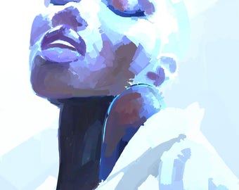 Purple and Blue, Black Art, Black Women, POC, Black Girl Magic, Wall Art, Art Print