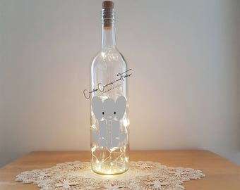 Bottle Lamp Kit - Baby Elephant, Bottle Lamp, Wine Bottle Light, Bottle Light, Table Decor, Unusual Gift, Bottle, Craft Kit, Crafty Creases