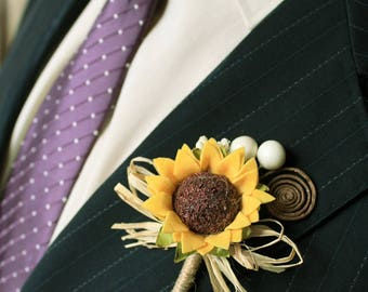 2 Rustic Sunflower Boutonnieres, Set of 2 Groom and Groomsmen Boutonnieres, Sunflower Wedding Accessories, Sunflower Brown Swirl Buttonholes