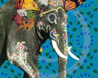 Elephant Artwork, Elephant Art Print, Elephant Prints, Elephant Print, Indian Elephant, Vintage Elephant, Elephant Gifts, Elephant Decor