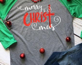 Merry CHRIST mas shirt, Christmas Baseball Shirt, Merry Christmas Raglan Tee, Christian Christmas Shirt, Religious Holiday Shirt