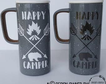 Happy Camper Mug in White Font