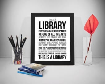 This Is Library, Library Sign, Library Decor, Library Quote, Library Poster, Library Printable, Gift Librarian