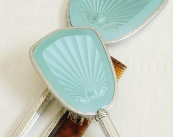 Vintage Mirror, Comb, and Brush Dresser Set, Blue 3 Piece Vanity Set, Made in England, Dressing Table Set, Gift for Bride, Wedding Gift