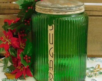 Antique Ribbed Green Glass Sugar Canister Jar, Vintage Owen Illinois, Oval Storage Jar, Emerald Green, 1930's Wide Mouth Canister, Art Deco