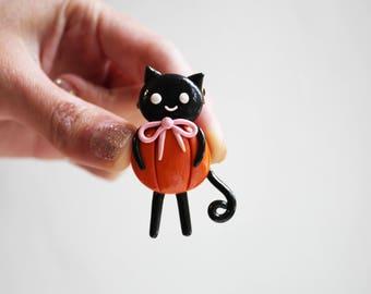 Black cat brooch Halloween jewelry Jack-o-lantern Terror brooch Halloween party Pumpkin brooch Halloween gifts Halloween clothe decor