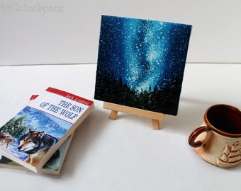 Small Milky Way painting Galaxy art Milky Way decor Universe art Gift for her Galaxy painting Space wall art Galaxy stars Night Sky painting
