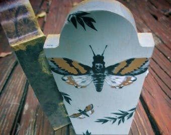 Small, Spooky-Cute, Golden Death Moth, Coffin, Headstone, Jewelry Stash Box