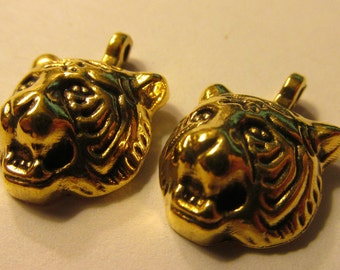 Tiger Head Charms with Antique Gold Finish, 12mm, Set of 2
