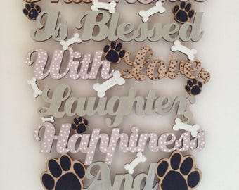 This Home is Blessed with a Dog Wooden hanging Sign gift birthday ideas