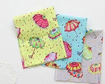 Rainy day Umbrella printed Fabric made in Korea 100% Cotton by the Half Yard