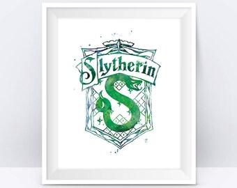 Slytherin Crest Watercolor Print Harry Potter Print Home Decor illustration Wizard Kids Room Gift Slytherin Poster DigitaL Download